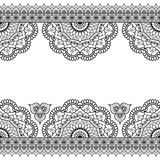 Indian, Mehndi Henna line lace elements with flowers pattern card for tattoo on white background Royalty Free Stock Images