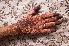 Indian mehndi (henna painting) in woman's hand at flowery background Stock Photo