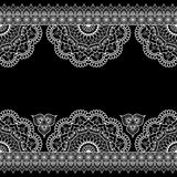 Indian, Mehndi Henna white line lace element with flowers pattern card for tattoo on black background Royalty Free Stock Photo