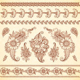 Indian mehndi tattoo style floral ornaments set Royalty Free Stock Images