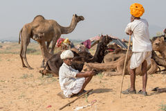Indian men attended the annual Pushkar Camel Mela Royalty Free Stock Photography