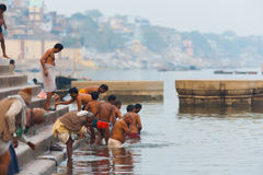 Indian Men Bathing Holy Ganges River Varanasi Royalty Free Stock Images