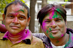Indian men with painted faces Royalty Free Stock Photos