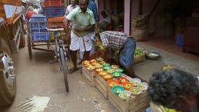 Indian Men Sell Fruit Vegetables on Street Market stock video