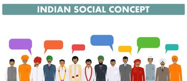 Social concept. Group indian people standing together and speech bubbles in different traditional national clothes on royalty free illustration