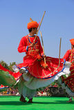 Indian men in traditional dresses dancing at Desert Festival, Ja Royalty Free Stock Image
