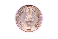 Indian metal coin of 5 Stock Photography