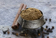 Indian mix of spices garam masala. Indian mix of ground spices garam masala royalty free stock photos
