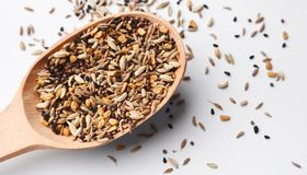 Indian mixed seeds, pods and spices in spoon royalty free stock images