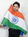 Indian model with indian flag Stock Photo