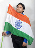 Indian model with indian flag looking up Stock Photography
