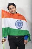 Indian model smiling with tiranga Stock Photography