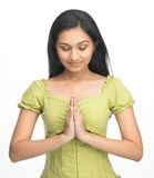 Indian modern girl with eye closed Stock Images