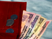 Indian Money. Indian currency notes in a wallet Royalty Free Stock Image