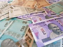 Indian money and banknotes rupees, money are from the major world countries using as Forex or financial economy.. Indian money banknotes rupees major world royalty free stock image