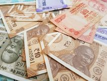 Indian money and banknotes rupees, money are from the major world countries using as Forex or financial economy.. Indian money banknotes rupees major world stock photography