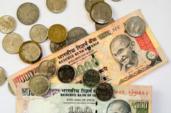 Indian money coins and paper on white Stock Image