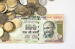 Indian money coins and paper on white Stock Photography