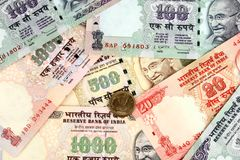 Indian money notes Stock Photo