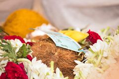 Indian money offering pooja royalty free stock photography