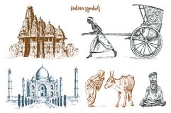 Indian monk meditating and landmark or architecture. Taj Mahal, traditional animal cow. Hindu farmer with rickshaw. Mausoleum-mosque. engraved hand drawn in Stock Images