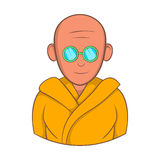 Indian monk in sunglasses icon, cartoon style Royalty Free Stock Photos