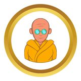 Indian monk in sunglasses vector icon. In golden circle, cartoon style isolated on white background Royalty Free Stock Photography
