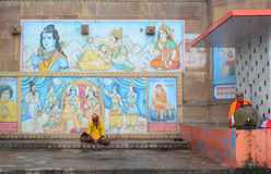 Indian monks sitting on the ghat in Varanasi, India.  Stock Image