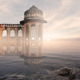 Indian monument in the mist. Indian monument on the Ganges river in the mist Royalty Free Stock Photo