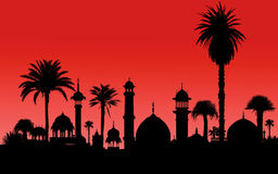 Indian monuments and palm tree Royalty Free Stock Photography