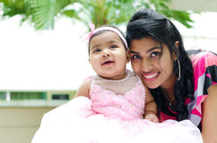Indian mother and baby girl stock photo