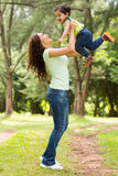 Indian mother boy. Beautiful young indian women playing with baby boy outdoors Stock Photos