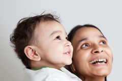 Indian mother and son laughing Royalty Free Stock Photography