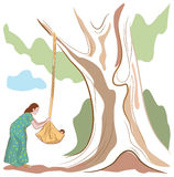 Indian mother. To put the baby to sleep line art drawing stock illustration