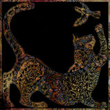 Indian motif floral design on black background Royalty Free Stock Photo