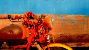 Indian Motor Style. A colorful motorbike from India Gujarat between a mean of transport and a small Stock Photo