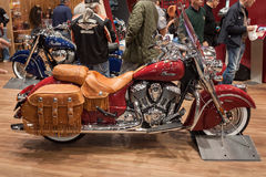 Indian motorbike with leather bags at EICMA 2013 in Milan, Italy Stock Images