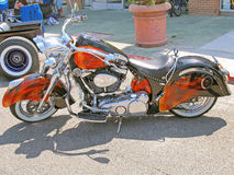 Indian Motorcycle. This is a beautiful example of a vintage looking Indian motorcycle sporting a custom paint job Royalty Free Stock Photo