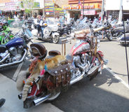 Indian Motorcycle with fur and horns at Sturgis, SD, motorcycle rally Royalty Free Stock Photo