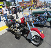 Indian Motorcycle with red and white paint at Sturgis, SD, motorcycle rally Royalty Free Stock Photo