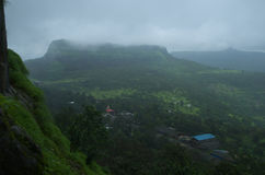 Indian mount lohgad in monsoon Royalty Free Stock Images