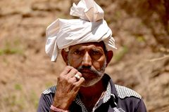The Indian Moustache Village Man. Found in Gandhinagar Gujarat, India. He was blessed and proud stock photo