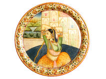 Indian Mughal Mural. A colorful hand painted indian mural on marble with use of natural colors Royalty Free Stock Images