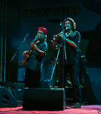 Indian music band performers live in concert. Indian musicians, Rahul Ram & Amit Kilam, from a popular band Indian Ocean performing live in concert during annual stock images