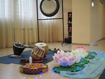 Indian musical instrument, name Mirudangam or Tabla and Sitar. Russia, Saratov - 05 April 2019