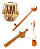 Indian musical instruments. Set with traditional Indian musical instruments isolated on white Stock Photos
