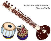 Indian musical instruments - sitar and tabla Royalty Free Stock Image