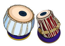 Indian musical instruments - Tabla. Vector indian musical instruments - ethnic drum Tabla. Isolated object on a white background Stock Photography