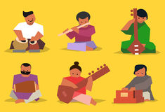 Indian musician set. Indian musician playing traditional musical instruments. Vector  set Stock Images