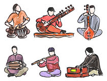 Indian musician set. Vector set of indian musician playing traditional musical instruments Stock Photo